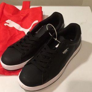 New Puma basket leather/rubber black shoes 11.5 ❤️